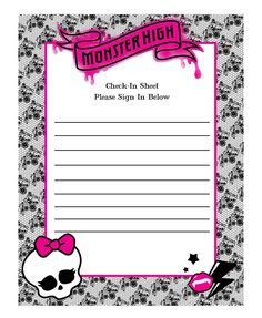 Monster High Birthday Party Sign In Sheet #MonsterHigh #Birthday #SignIn