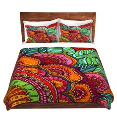 Artistic Duvet Covers and Shams Bedding | Ann Marie Cheung - Delightful | Mandala flower pattern vibrant