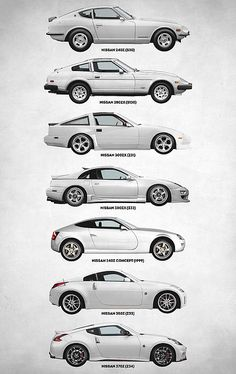 Nissan Digital Art - Nissan Z Generations by Zapista OU Classic Japanese Cars, Japanese Sports Cars, Datsun Car, Datsun 240z, Nissan 300zx, Tuner Cars, Jdm Cars, Street Racing Cars, Auto Racing