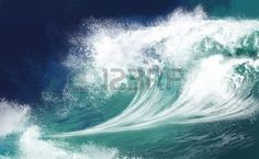 White ocean waves on blue sky background - Computer Illustration