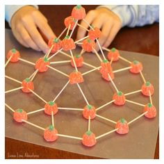 Stem Challenge: Building Structures with Candy Pumpkins.
