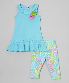Look what I found on #zulily! Aqua Rosette Ruffle Dress & Leggings - Toddler & Girls #zulilyfinds