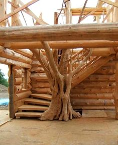 Log Home Interiors, Wooden Stairs, Log Cabin Homes, Log Cabins, Woodworking Projects Plans, Woodworking Kids, Carpentry Projects, Woodworking Quotes, Diy Projects
