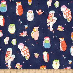 Rita Flora Spotted Owl Navy from @fabricdotcom  Designed by DeLeon Design Group for Alexander Henry, this cotton print is perfect for quilting, apparel and home decor accents.  Colors include navy, white, pink, lime, orange, red, aqua and yellow.