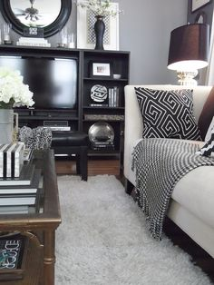 Mixing old & new for a RENTAL RESTYLE (azsp) 2013 (146) | #Homegoods Finds: Pillows, decorative boxes, black lamp shade #HappyByDesign #NYCLQ Lynda Quintero-Davids #FocalPointStyling #PHX #AZ