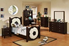 Football Theme With Dark Wood Furniture Like Bed Dresser Cabinet And Computer Desk