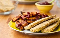 Looking for a healthier alternative to fried chicken? Try these amazing Crispy Breaded Tofu Strips & Sweet Potato Fries...husband approved!! #recipes #vegan