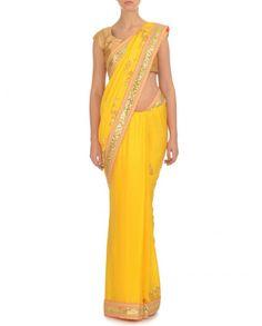 Blazing Yellow Sari with Golden Blouse - Madsam Tinzin - Designers #Ethnic #Traditional #Desi #Indianfashion #Indiandesigners #Designerwear #Fashion #Women #Indian