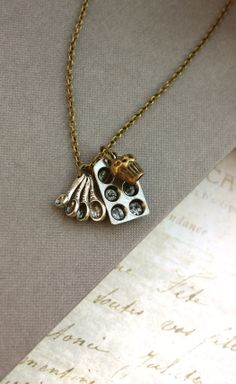 Mother's Day Gift Idea. Cute Measuring Spoon, Miniature Baking Tray Muffin Necklace by Marolsha.