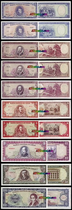 Chile banknotes - Chile paper money catalog and Chilean currency history Money Notes, Bohemian Rug, Catalog, 1, Retro, Paper, Beauty, Report Cards, Old Things