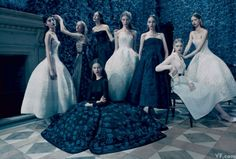 Models in pieces from the fall 2012 Dior Haute Couture collection by Raf Simons, photographed by Paolo Roversi. Styled by Jessica Diehl.