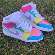 """Custom Color Block """"Pastry Jordan Toddler Freestyle Nike Air Force One Pastel Pink Purple Blue Gr Dr Shoes, Cute Nike Shoes, Swag Shoes, Cute Nikes, Hype Shoes, Shoes Sneakers, Shoes Jordans, Yeezy Shoes, Sneakers Fashion"""