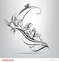 Illustration about Girl on the sheet on a gray background. Illustration of idea, flora, butterfly - 37679203 Art Sketches, Art Drawings, Pixie Tattoo, Learn To Sketch, Stock Photo Girl, Butterfly Drawing, Figure Sketching, Hand Art, Illustration Girl