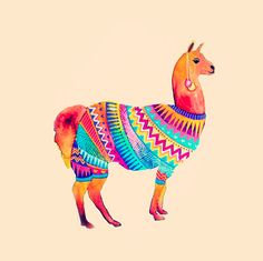Llama sweater! Watercolors by Gabee Meyer. via 1000drawings tumblr