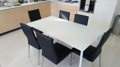 Paired with our Livorno black dining chairs. Delivered to our client in London. Black Dining Chairs, Extendable Dining Table, London, Link, Glass, Furniture, Home Decor, Expandable Dining Table, Decoration Home