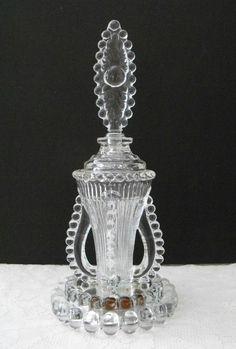 Vintage 1930's elegant pressed glass perfume bottle