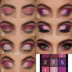 Sexy Eye Makeup, Purple Eye Makeup, Makeup Eye Looks, Eye Makeup Steps, Eye Makeup Art, Colorful Eye Makeup, Smokey Eye Makeup, Beauty Makeup, Doll Eye Makeup