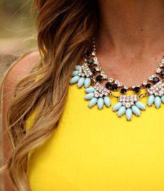 Yellow & turquoise.