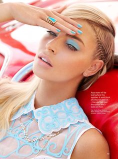 Who What Wear Blog Vava Vroom Statement Spring Hair Beauty Cosmopolitan UK April 2014 Model Lisa Seiffert Photographer: Olivia Graham  Make-up by: Robin Schoen Hair by: Miok Beauty Editorial Aqua Blue Nails Manicure Matching Bright Blue Eyeshadow Thin Side Braid Groomed Eyebrows Light Pink Lipstick Embroidered White blue Sleeveless Top Turquoise Gold Ring
