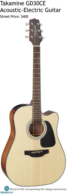 Takamine GD30CE 6 String Acoustic-Electric Guitar. It has  a solid spruce top and mahogany back and sides with an onboard Takamine TP-4TD preamp system gives you a built-in tuner with three-band EQ and gain controls.  For a detailed guide to acoustic guitars see https://www.gearank.com/guides/acoustic-guitars