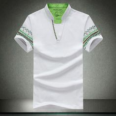 IMC Hommes de t-shirt Col V col mandarin solide casual t-shirts à manches courtes d'é Polo T Shirts, Golf Shirts, Col Mandarin, Mandarin Collar, Casual T Shirts, Men Casual, Polo Design, T Shirt Col V, Tee Shirt Homme