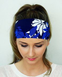 Yoga Headband, Blue Leaf Hairband, Fitness headband, Workout Headband, Running Headband, Nonslip Headband Women Girl Hair Wrap YH02