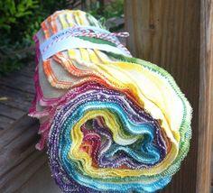 24 Bird-E Towels - multi pack - variegated rainbow thread edges - eco friendly paper towel alternative - unpaper - paperless towel