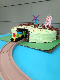 Train tunnel kids cake