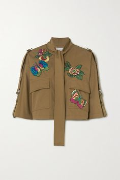 Shop Red Valentino Cropped Pussy-bow Embroidered Cotton-gabardine Jacket In Army Green from stores, starting at Similar ones also availab Denim Dye, Gucci Shoulder Bag, Personal Shopping, Jennifer Fisher, Green Cotton, Army Green, Military Jacket, Bodysuit, Menswear