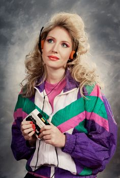 Hilarious 80s track suit, walkman, colored eyeshadow and hot-rollered hair