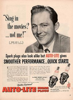 """1952 Auto-Lite Spark Plugs Bing Crosby Double Original Auto Parts Print Ad -An original vintage 1952 advertisement, not a reproduction -Measures approximately 10"""" x 13"""" to 11"""" x 14"""" -Ready for matting"""