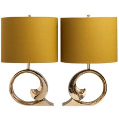A Superb Pair of Pierre Cardin Brass Table Lamps 1970s