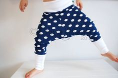 Blue white stretchy baggy leggings toddler pants by OliveAndVince, £24.00