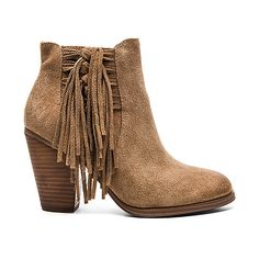Vince Camuto Harlin Bootie Shoes ($159) ❤ liked on Polyvore featuring shoes, boots, ankle booties, booties, side zip boots, high heel short boots, fringe ankle boots, fringe booties and fringe bootie