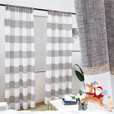 GRALI Long Burlap Curtains, Striped Earth Tone Window Covering, Linen Texture Panels for Decoration and Privacy Wide, 2 Pcs, Tan-Brown) Plaid Curtains, Striped Curtains, Home Curtains, Country Curtains, Green Curtains, Velvet Curtains, Lined Curtains, Top Country, Country Style