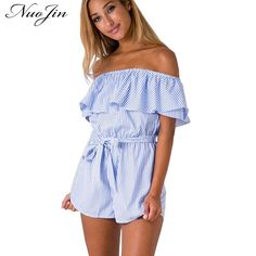NuoJin Ruffles Striped Playsuit Women Sexy Off Shoulder Rompers Womens  Jumpsuit Sashes 2017 Summer Shorts Bodysuits 7981b5fe0c56