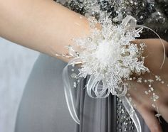 Crystal Snowflake Bridesmaid Bouquet Winter by BridalBouquetsbyKy