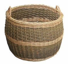 Wicker Log Basket Extra Large With Handles Unpeeled For Wood Fire Storage XL
