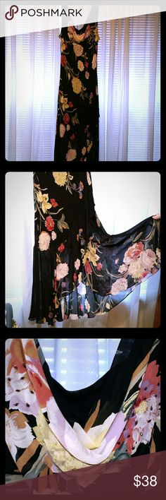 Eva Blue Evening Dress Rayon and Polyester, fully lined, beaded. Great condition. Dresses Maxi