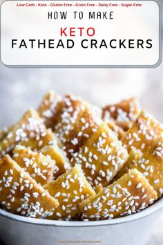 Sesame Keto Crackers Recipe is super crunchy, easy to make, Low Carb, Gluten-free, Grain-free, and almost everything else free. They are better as the normal crackers, made out of Fathead dough, topped with sesame seeds, which makes you love them any time of the day. Fun Easy Recipes, Sugar Free Recipes, Quick Easy Meals, Low Carb Recipes, Snack Recipes, Party Recipes, Brunch Recipes, Summer Recipes, Healthy Recipes