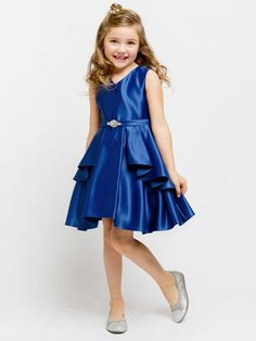 Flower Girl Dress Satin Layered Dress with a Rhinestone BroochRoyal Blue Party Dress Special Occasion Dress Girls Holiday Dresses, Girls Special Occasion Dresses, Girls Dresses, Blue Party Dress, Girls Party Dress, Baby Dress, Lace Flower Girls, Flower Girl Dresses, Red Christmas Dress