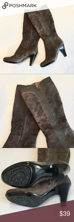 Sofft Brown Suede Boots Brown suede knee-high high-heeled boots with leather stitched detailing by Sofft.  Size 9.  Excellent barely worn condition except for one small blemish as shown in photos. Sofft Shoes Heeled Boots