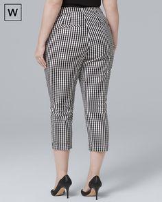 White House Black Market Plus Gingham Slim Crop Pants Curvy Fashion, Plus Size Fashion, Moda Plus Size, Casual Jeans, Cotton Pants, Cropped Pants, Gingham, Work Wear, Pants For Women