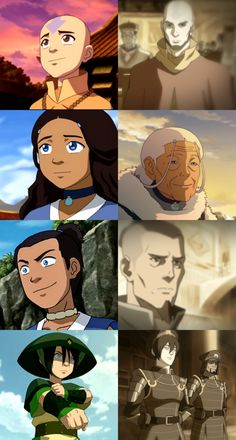 The main Avatar characters - Young and old. When I started watching The Legend of Korra, I was like, WUT!!!! THE MAIN CHARACTERS ARE ALL DEAD AND KATARA IS OLD?!?!?! And they looked so much older and serious when Korra had flashbacks of memories from Aang... AANG CAN NEVER BE OLD OR DEAD IN MY MIND!!! HE'LL FOREVER BE YOUNG!!! I was also kinda happy for what they did in the many years after Aang defeated the Fire Lord, though. DOES ANYBODY FEEL THE SAME WAY ABOUT THIS??!!! D-':