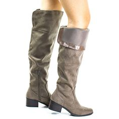 Pamela Taupe By City Classified, Western Knee High Boots w Foldable Flap & Block Stacked Heel Women's Over The Knee Boots, Knee High Boots, Tall Boots, Shoe Boots, Types Of Shoes, Riding Boots, Casual Shoes, Taupe, Heels