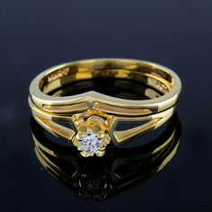 0.18ct Round Cut Diamond 14K Yellow Gold Plated Bridal Ring Sz 6.75 #prelovedjewelry #Bridal
