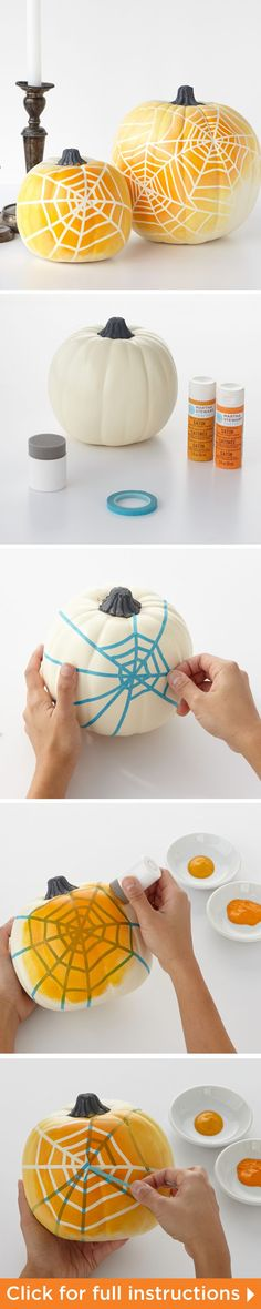 How to make the Ombre Spiderweb Pumpkins from Martha Stewart