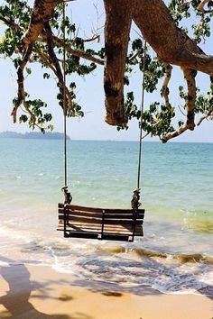 Serenity - swinging on the beach . The Places Youll Go, Places To Go, I Love The Beach, Peaceful Places, Belle Photo, Dream Vacations, Beautiful Beaches, Seaside, Serenity