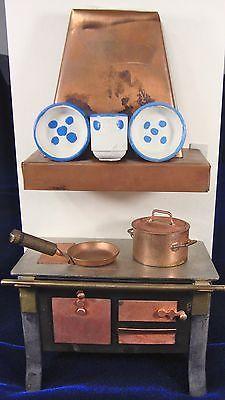 Vintage Dora Kuhn Bavarian Dollhouse Accessories - Kitchen Wood Stove and Hood
