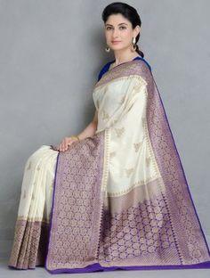 Ivory-Blue Gadwal Silk Handwoven Saree